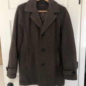 CALVIN KLEIN Men Small Overcoat Brown